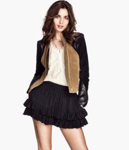 leather and suede jacket and No! Never! Is that really a ra-ra skirt?